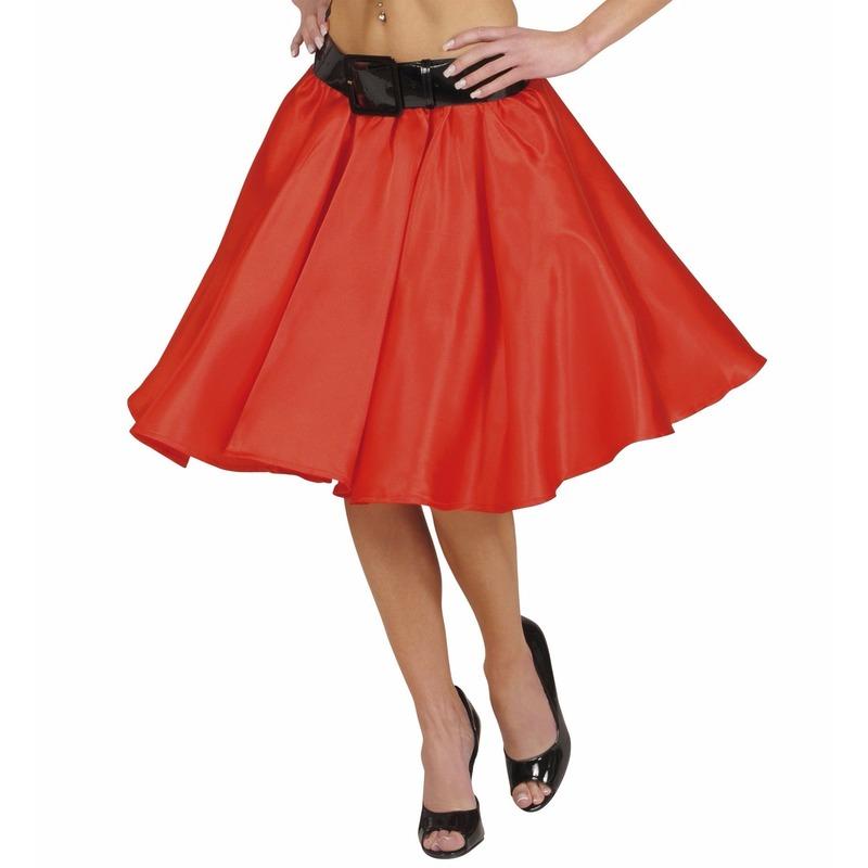 Rode fifties rok met petticoat voor dames