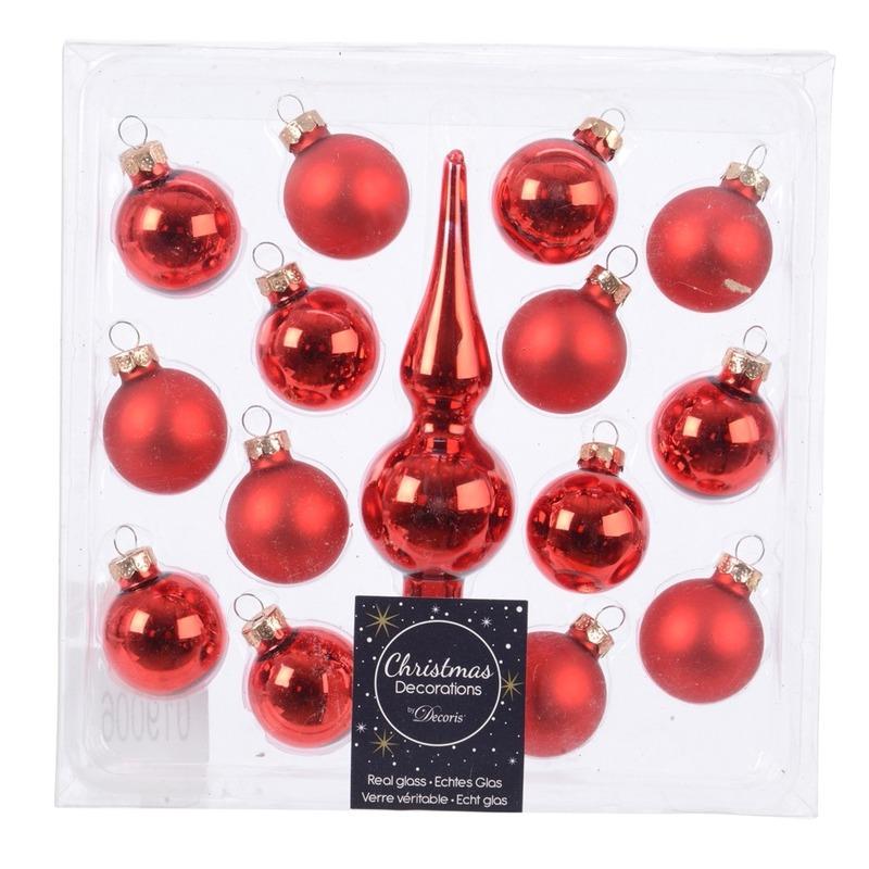 Rode glazen kerstballen en piek voor mini kerstboom
