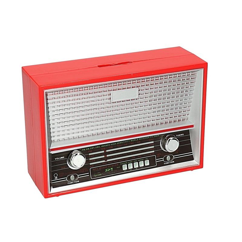 Rode radio spaarpot 18 cm