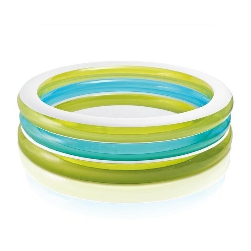 Rond zwembad groen blauw wit