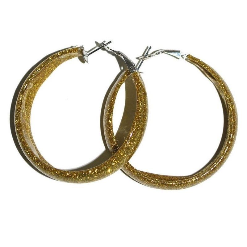 Ronde dames oorbellen glitter goud