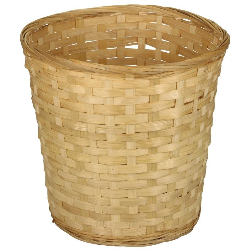 Ronde rieten-bamboe mand 25 x 24 cm