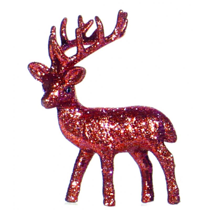 Rood glitter deco rendier 10 cm