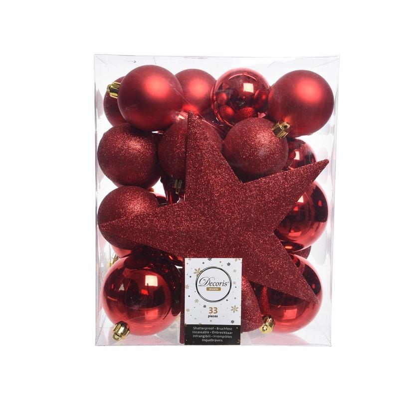 Rood kerstballen pakket met piek 33 stuks