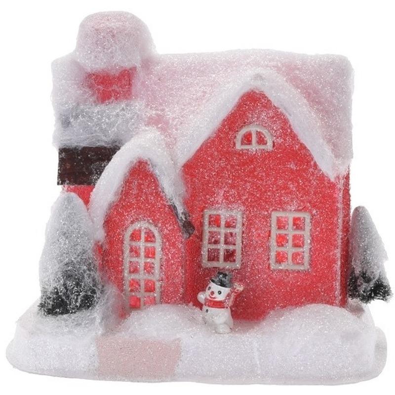 Rood kerstdorp huisje 18 cm type 2 met LED verlichting