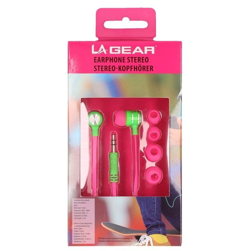 Roze-groene oordopjes-oortelefoon in ear stereo