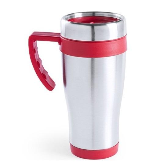 RVS thermosbeker-warm houd beker rood 500 ml