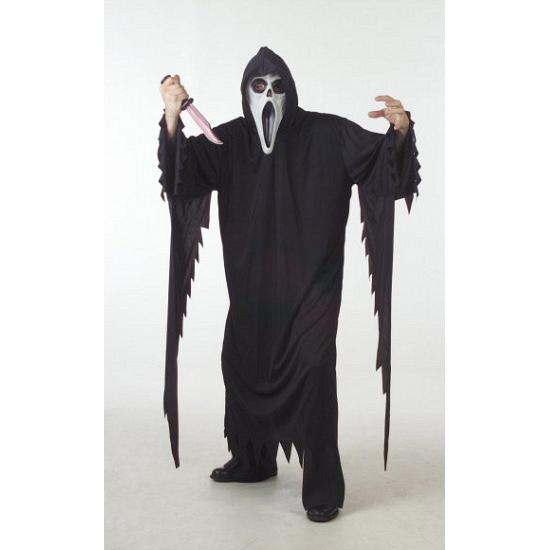 Scream kostuum grote maat voor volwassenen. dit scream kostuum is een zwarte overslag met muts. het materiaal ...
