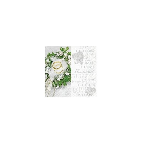 Servetjes met trouwringen 20x