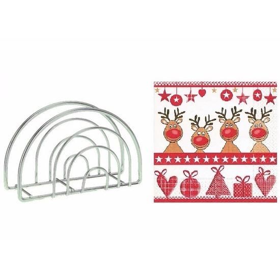 Servettenhouder met kerst servetten rendieren. metalen servettenhouder inclusief 20 stuks papieren servetten ...