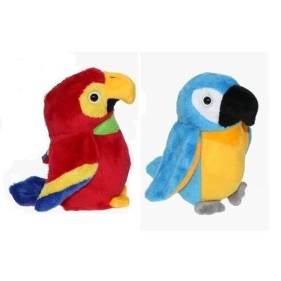 Set van 2 pluche ara papegaai knuffels 15 cm