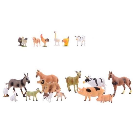 Set van 20 plastic boerderij diertjes