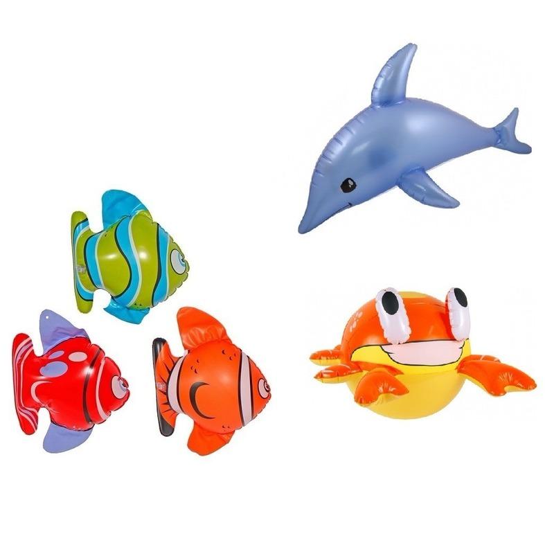 Set van 3x Opblaasbare vissen een dolfijn en een krab