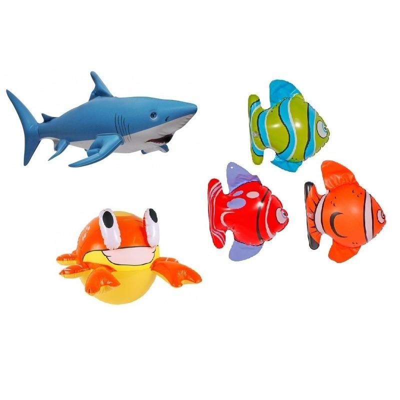 Set van 3x Opblaasbare vissen een haai en een krab