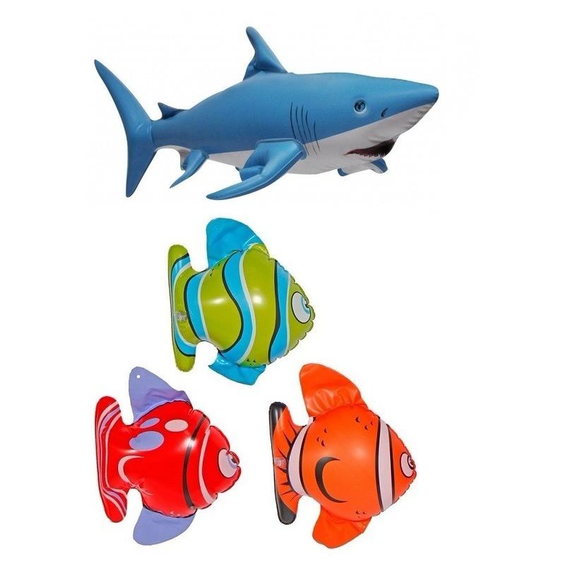 Set van 3x Opblaasbare vissen en 1 haai