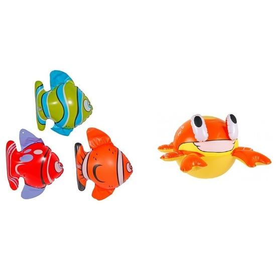 Set van 3x Opblaasbare vissen en een krab