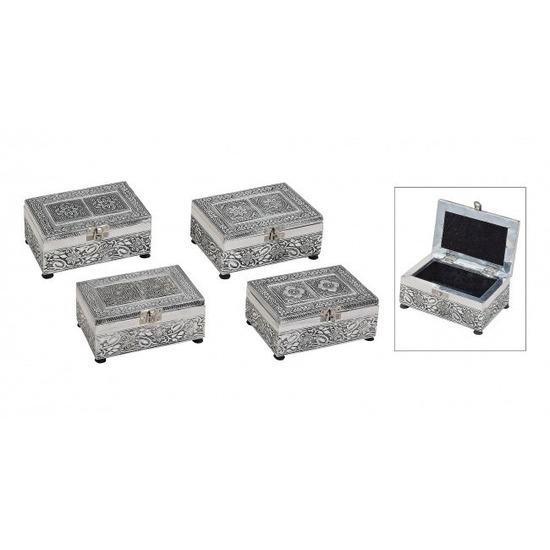 Sieraden-Juwelen kistje zilver 15 cm