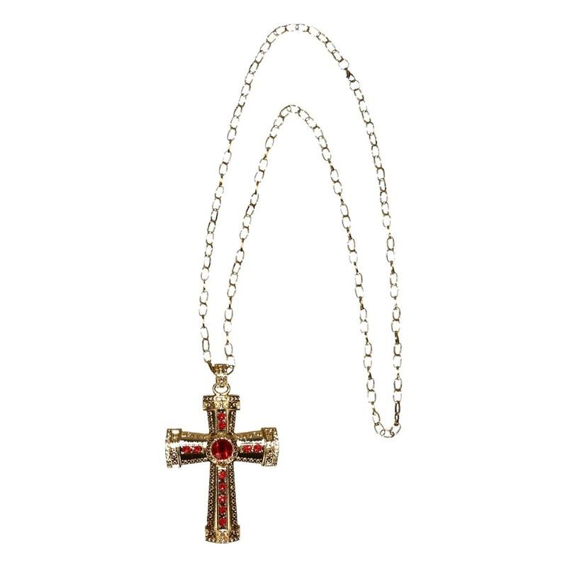 Sinterklaas verkleed ketting goud-rood kruis voor heren