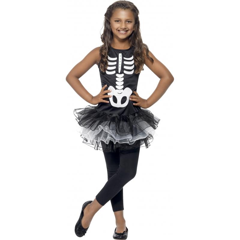 Dit skeletten kostuum voor meisjes bestaat uit een zwart jurkje met skeletprint en een tutu en is gemaakt van ...