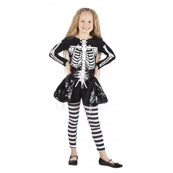 Skelet kostuum voor meisjes. dit halloween skelet kostuum voor meisjes bestaat uit shirt, gestreepte legging ...