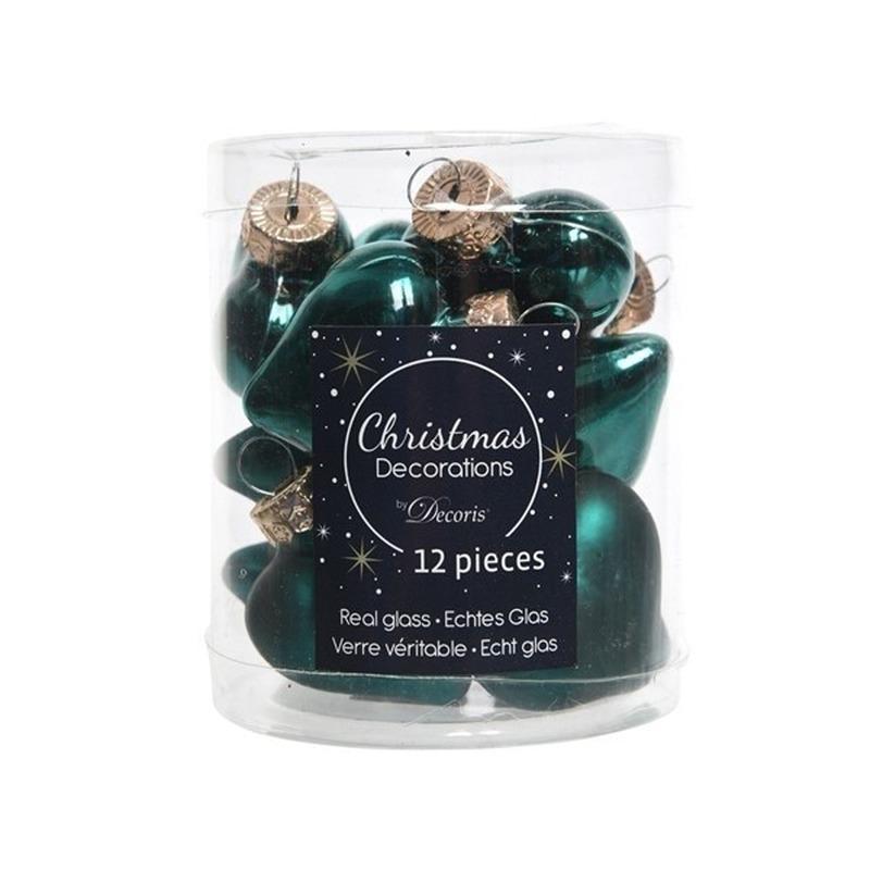 Smaragd groene kerstversiering hartjes kerstballen van glas