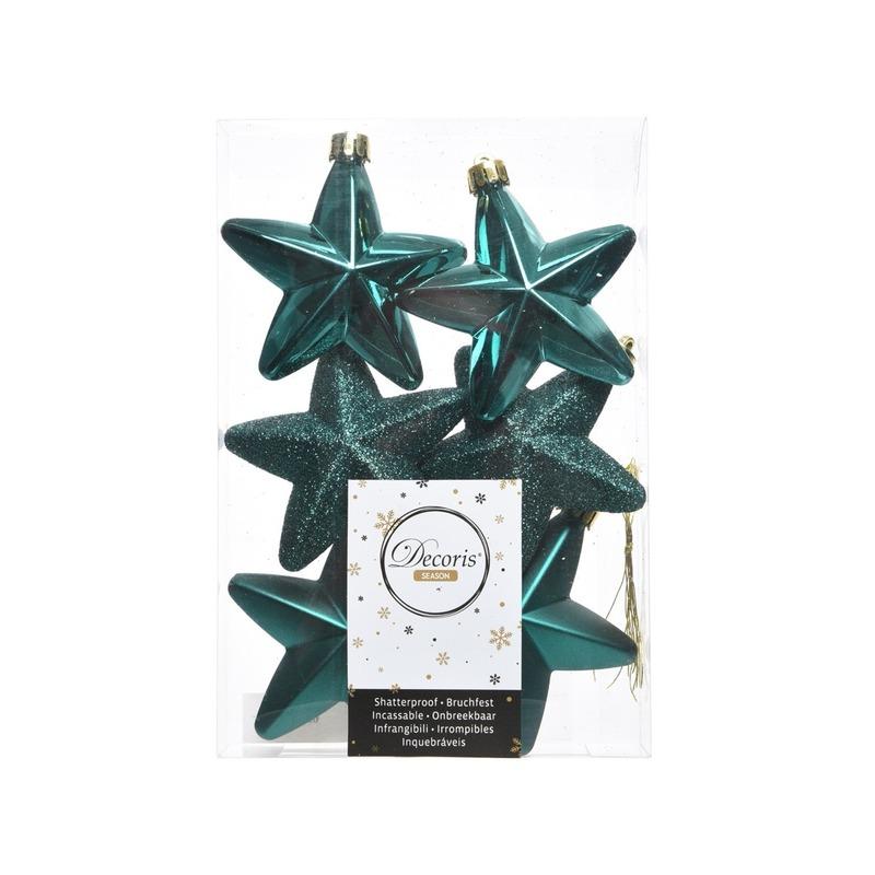 Smaragd groene kerstversiering sterren kerstballen 7,5 cm