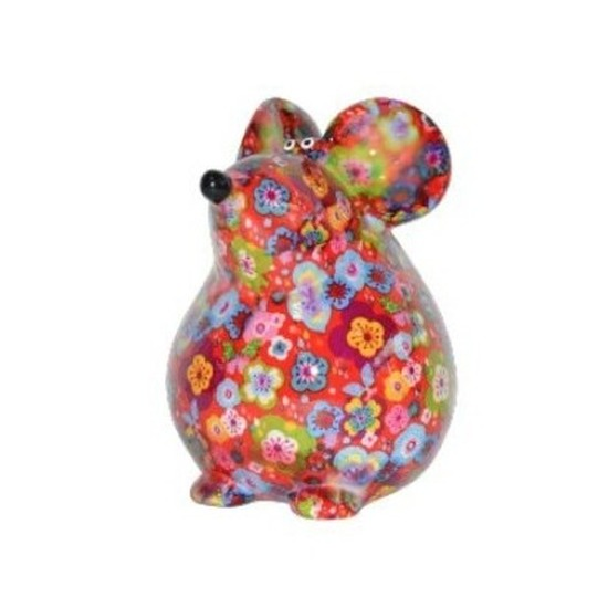 Spaarpot muis 17 cm rood met bloemetjes