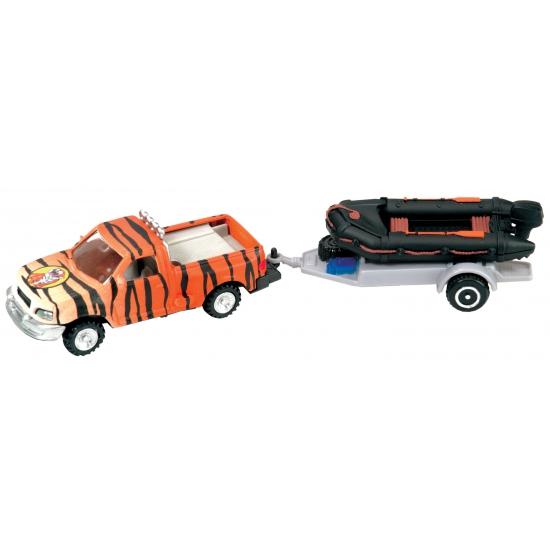 Speel auto tijgerprint met speedboot