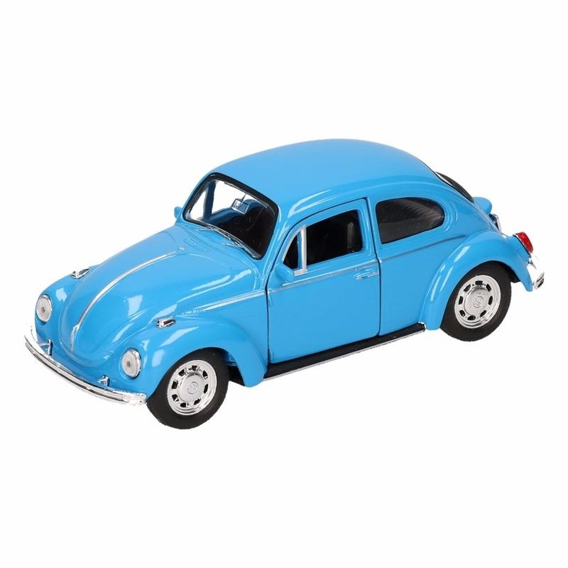 Speelgoed blauwe Volkswagen Kever classic auto 14,5 cm