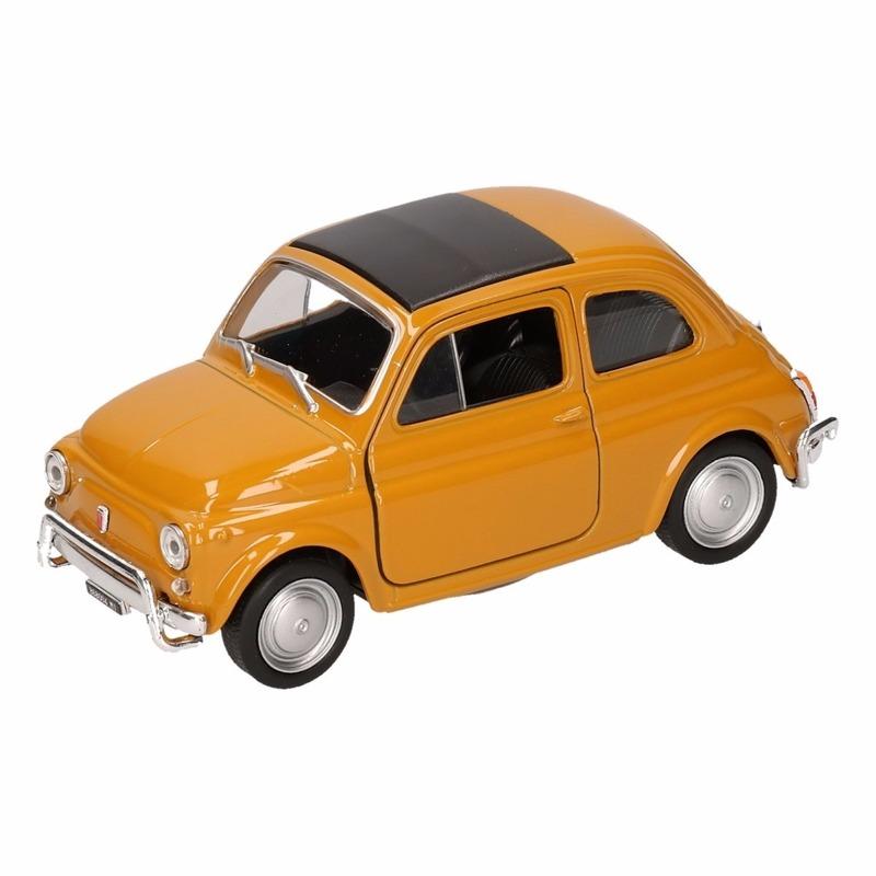 Speelgoed gele Fiat 500 classic auto 10,5 cm