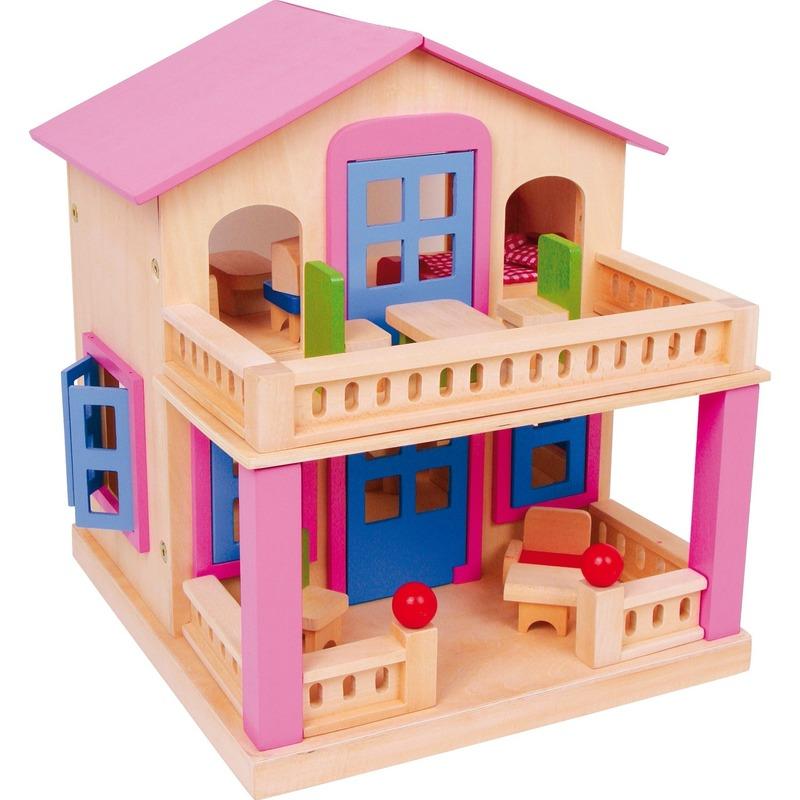 Speelgoed houten poppenhuis