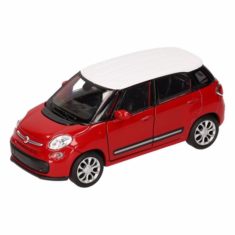 Speelgoed rood witte Fiat 500 L auto 11,5 cm