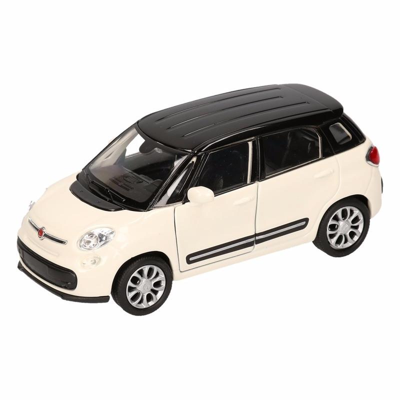 Speelgoed wit- zwarte Fiat 500 L auto 11,5 cm