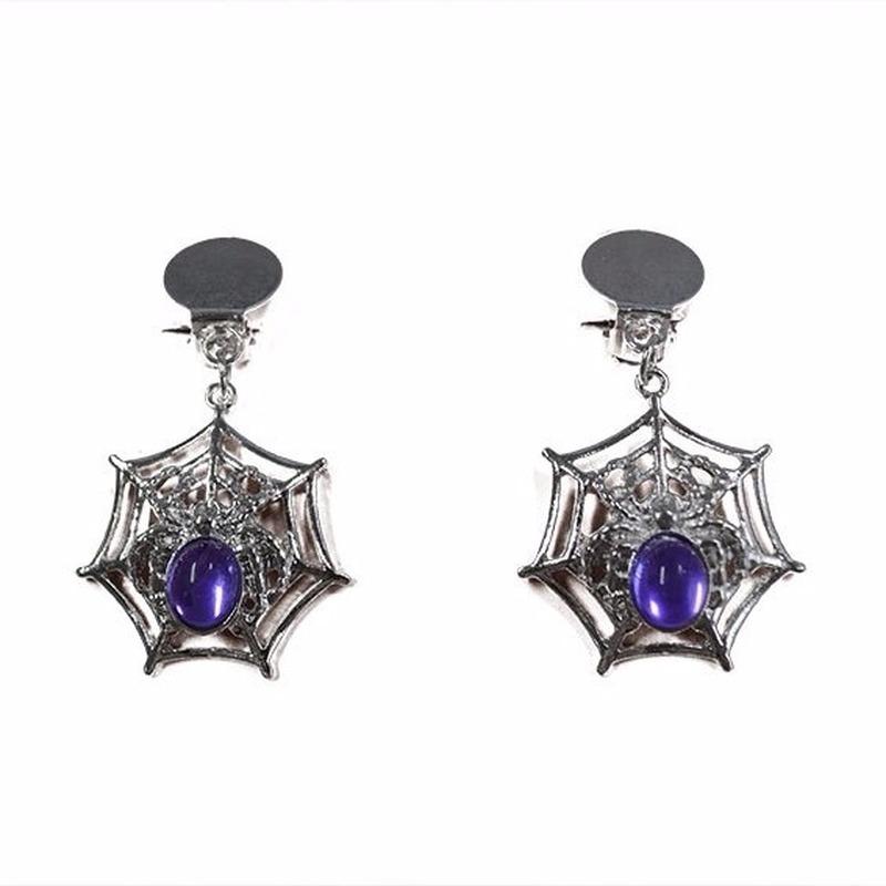 Spinnenweb oorbellen clip-on zilver-paars
