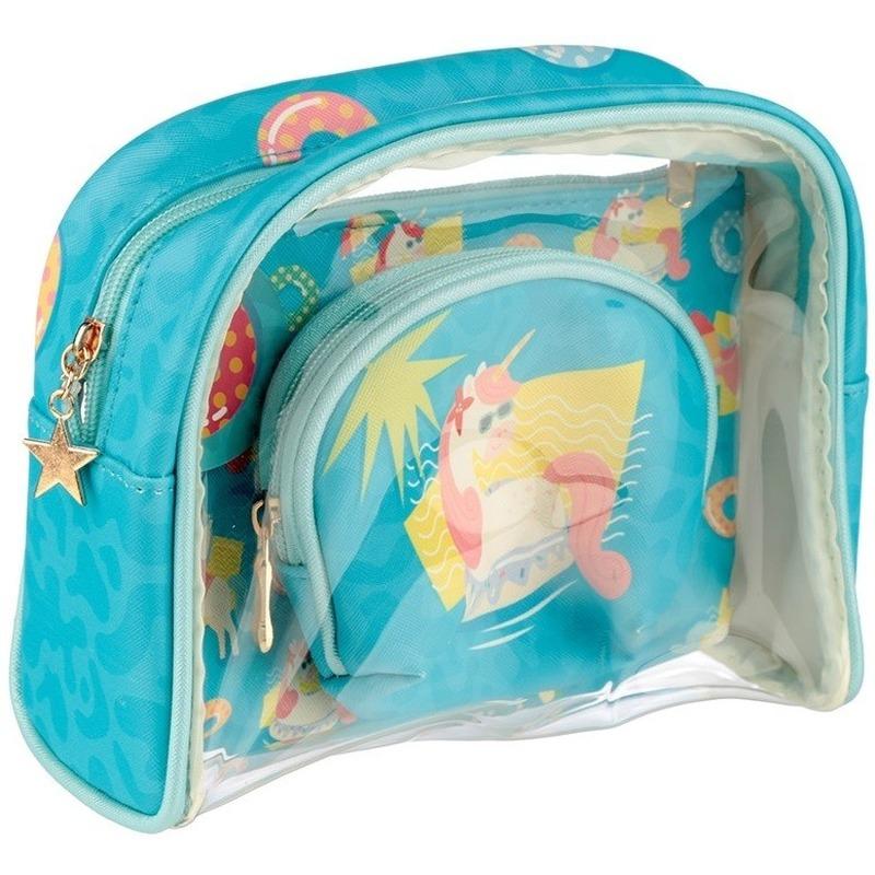 Toilettas-make-up tassen set eenhoorn-unicorn voor kinderen