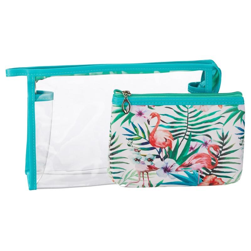 Toilettas-make-up tassen set flamingo blauw voor dames