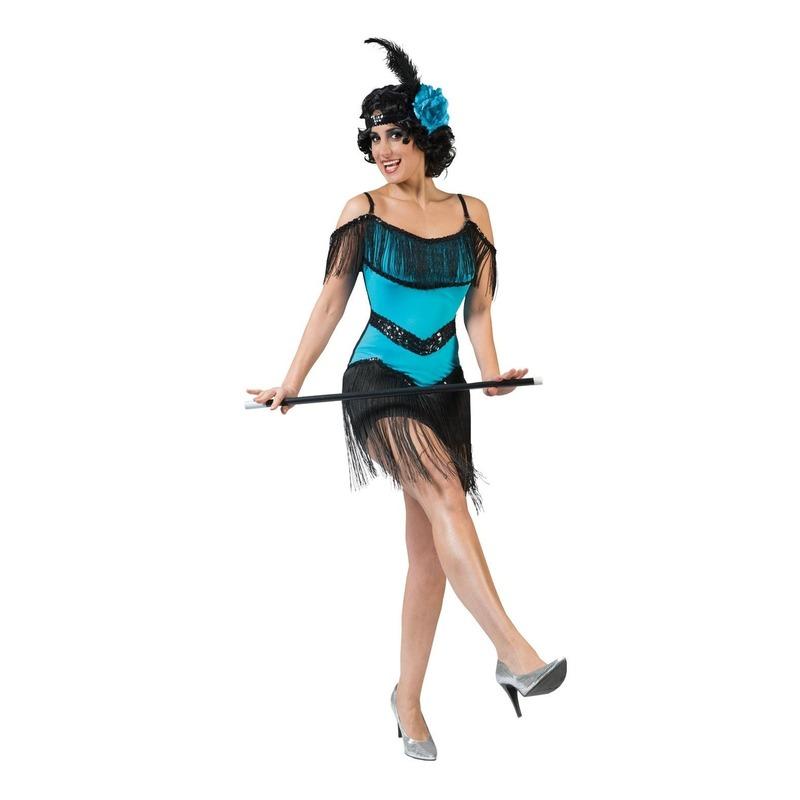 Toppers Blauw-zwart charleston verkleed jurkje voor dames
