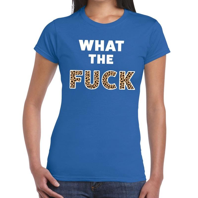 Toppers What the Fuck tijger print tekst t-shirt blauw dames