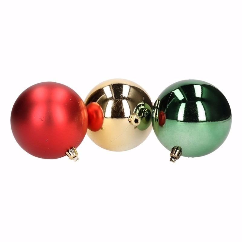 Traditional Christmas kerstboomversiering rood en groene ballen 12 stuks