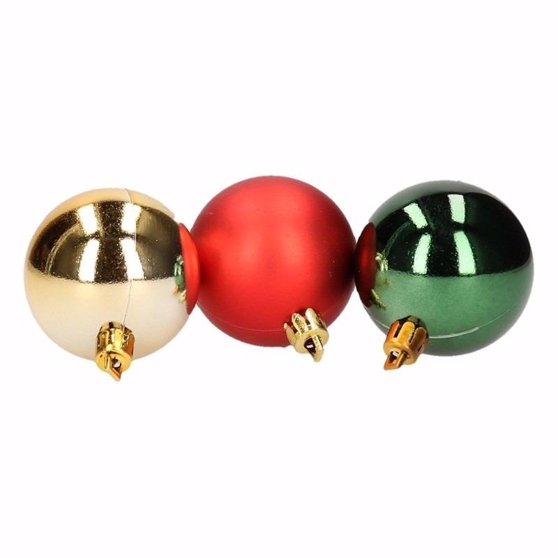 Traditional Christmas kerstboomversiering rood en groene ballen 5 stuks