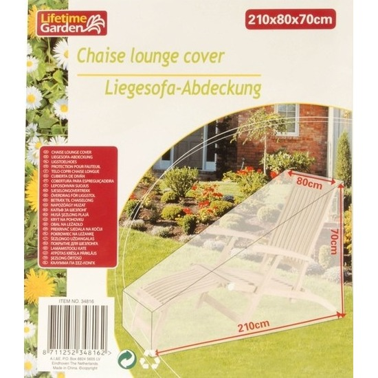 Transparante afdekhoes-beschermhoes tuin ligstoel 210 x 80 cm
