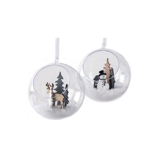 Transparante kerstballen met gat 12 cm