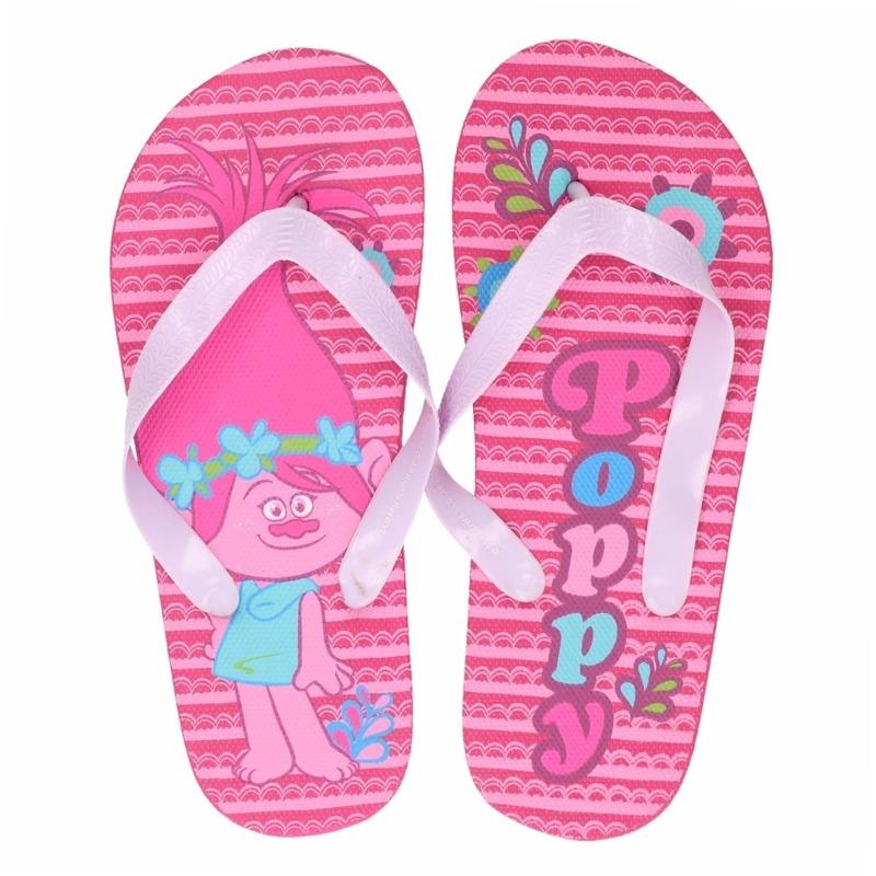 Trolls teenslippers roze Poppy voor meisjes