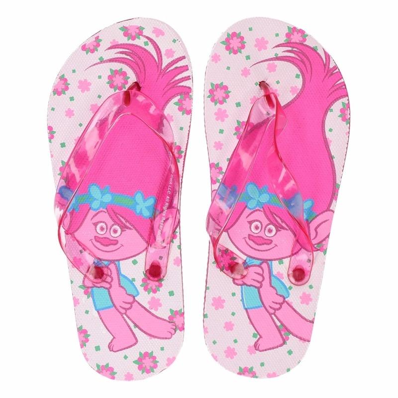Trolls teenslippers wit-roze voor meisjes