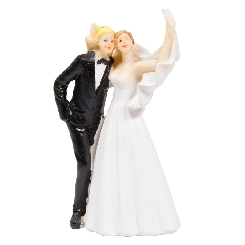Trouwfiguurtjes bruidspaar selfie taart decoratie 14cm