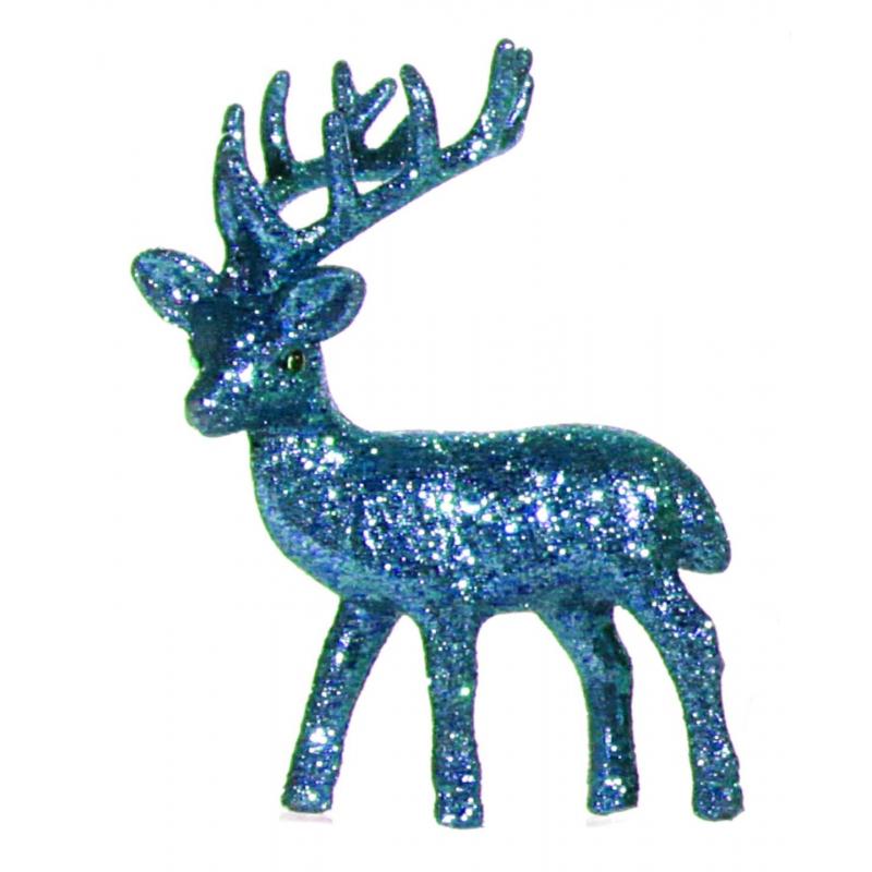 Turkooise glitter deco rendier 10 cm
