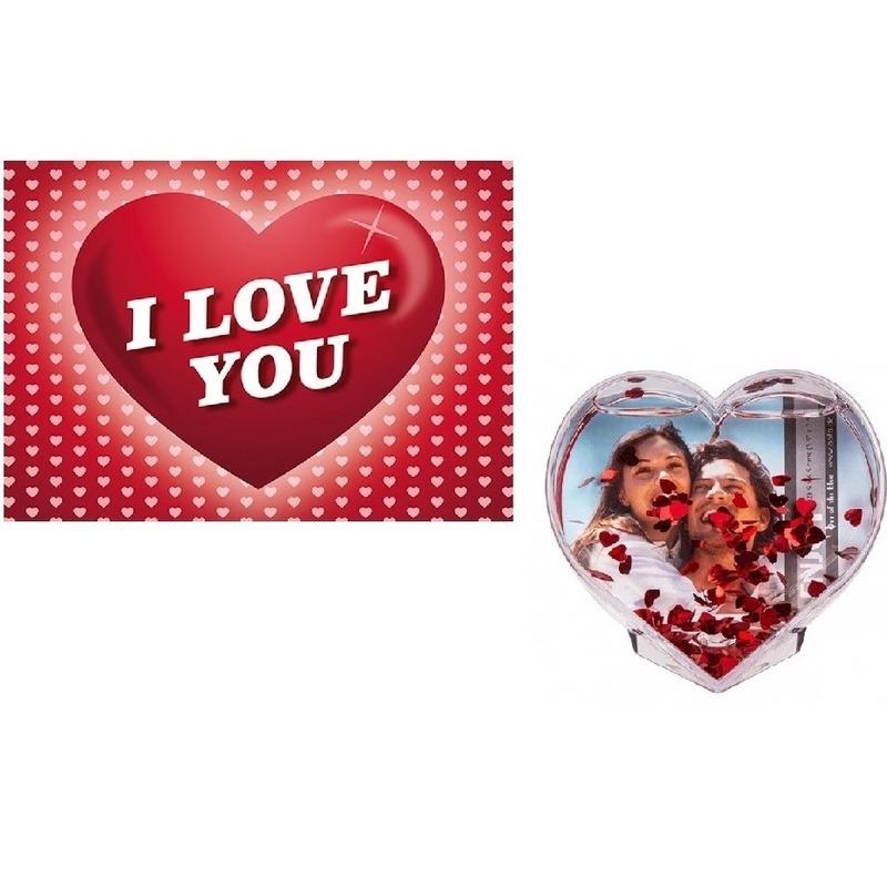 Valentijsdag cadeau 3D hart fotolijst met valentijnskaart