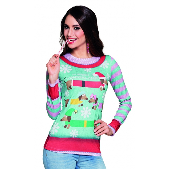 Verkleedkleding kerstprint shirt