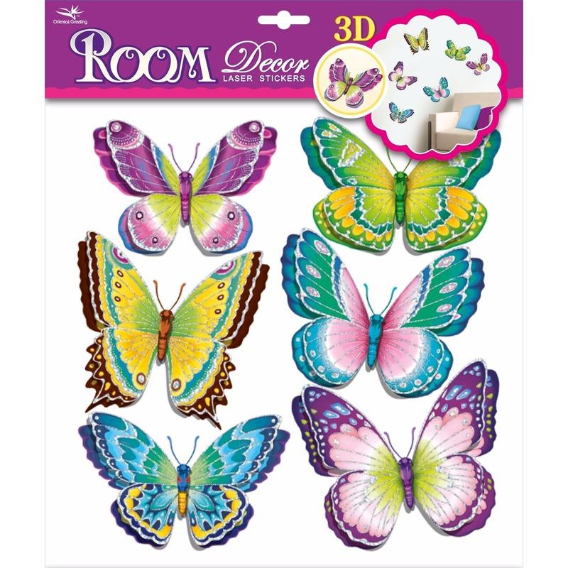Vlinder stickers set groen-paars 3D
