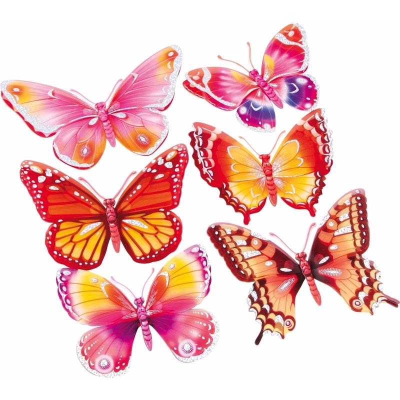 Vlinder stickers set roze-oranje 3D